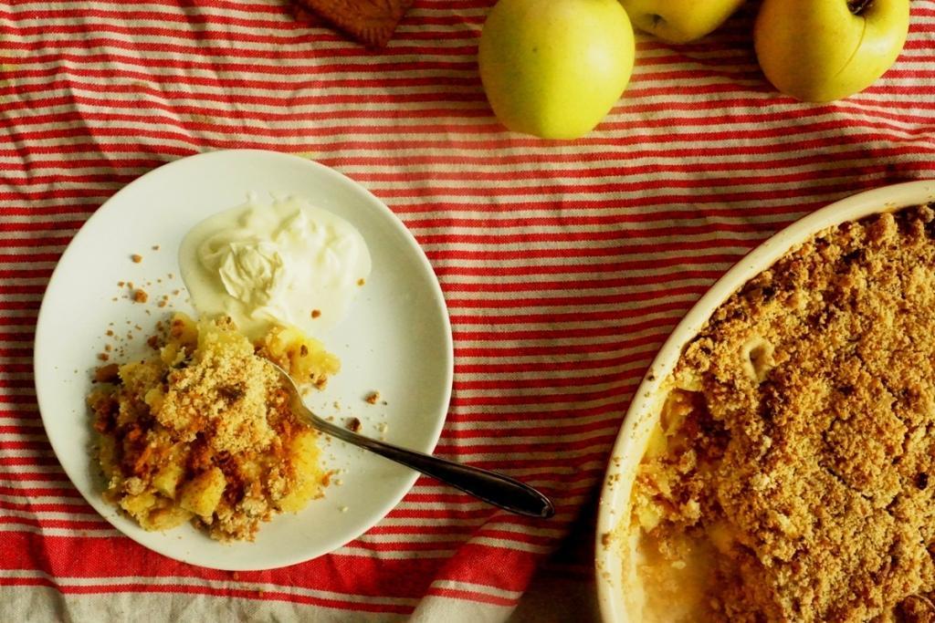 recette crumble aux pommes Toque et Tablier