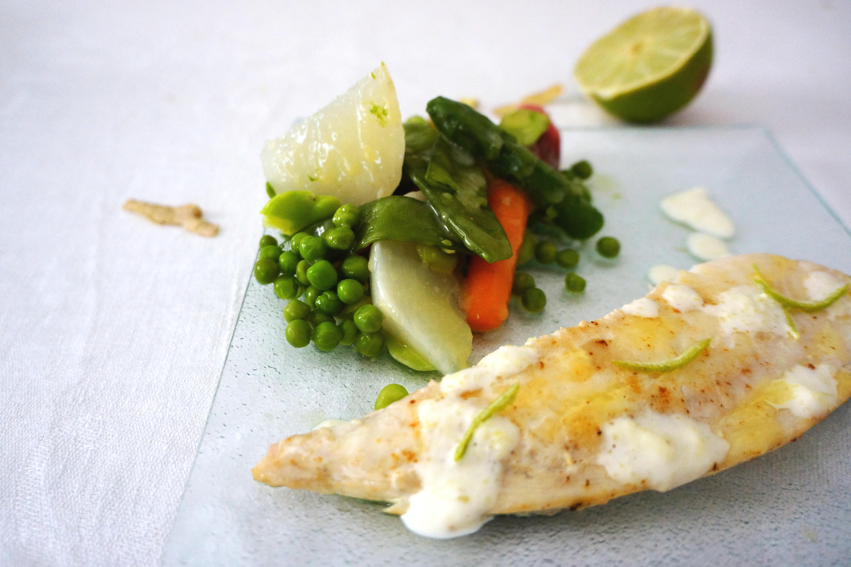 filet bar printaniere legumes toque et tablier