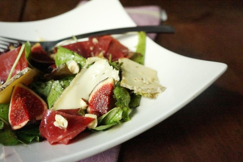 salade figues bresaola fromage toque et tablier