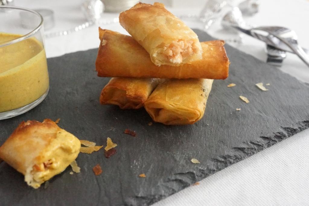 cigare saumon sauce curry coco-menu noel toque et tablier--