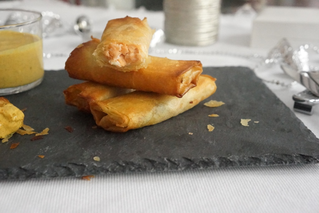 cigare saumon sauce curry coco-menu noel toque et tablier