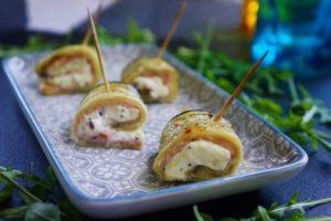 Roulés d'aubergines au fromage frais et jambon blanc
