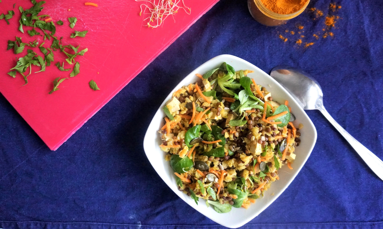 salade tiede aux 2 lentilles et tofu fumé toque et tablier