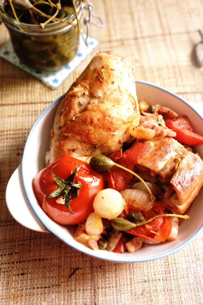 lapin tomates capres toque et tablier