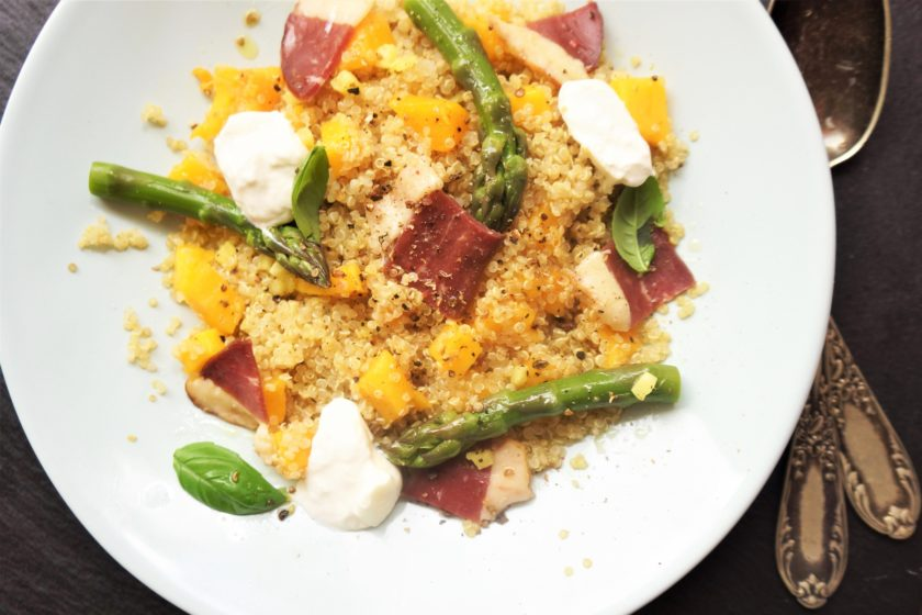 salade fraiche canard mangue toque et tablier.